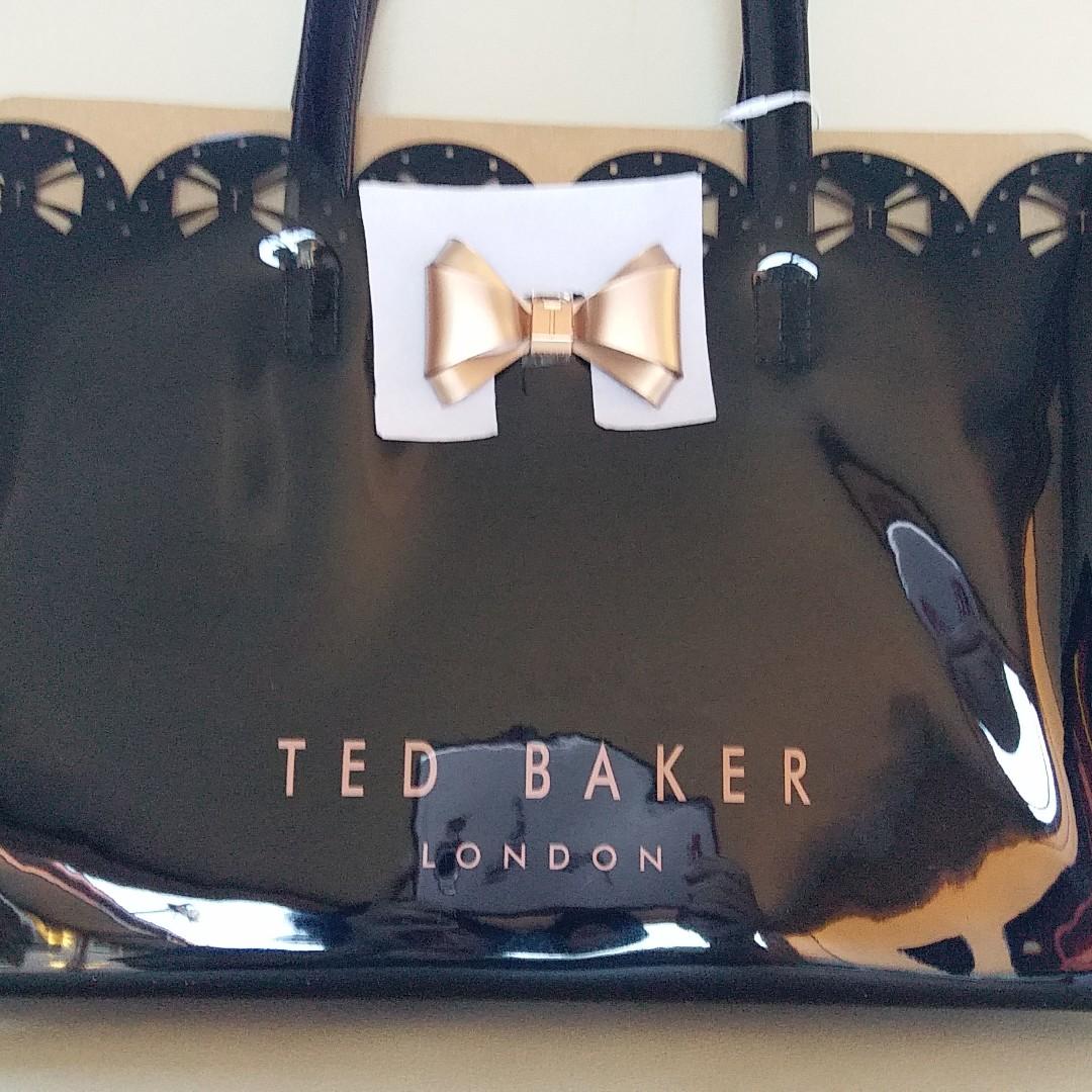 Ted Baker Bow Icon Medium Black Shopping Beach Tote Handbag Shoulder Bag