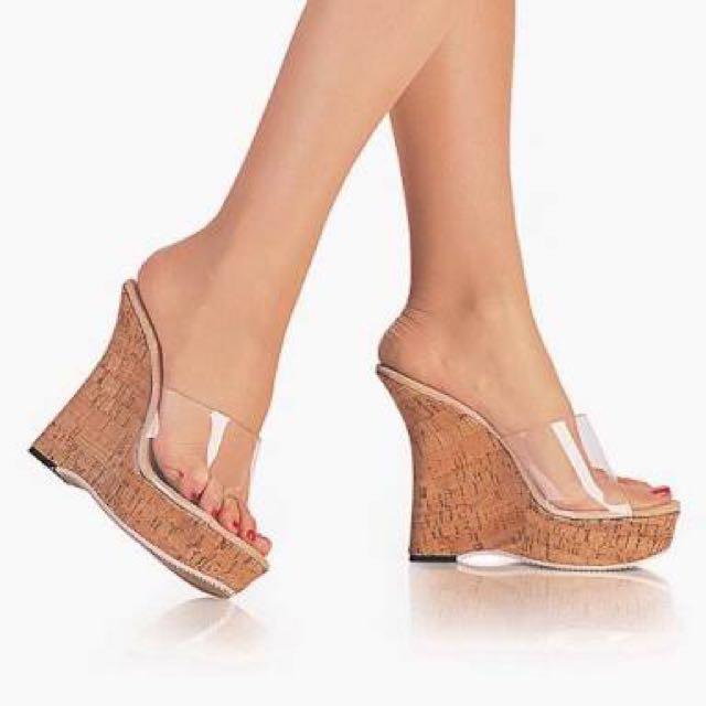 transparent wedge sandal