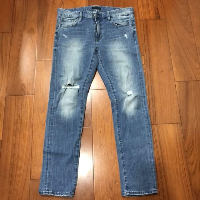 Uniqlo 低腰彈性修身牛仔褲