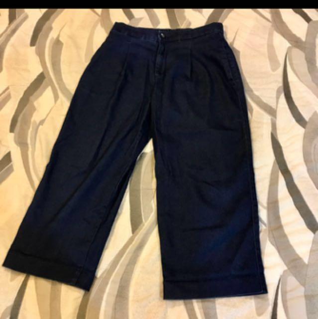 Uniqlo 牛仔寬褲 indigo 藍染 古著 八分褲