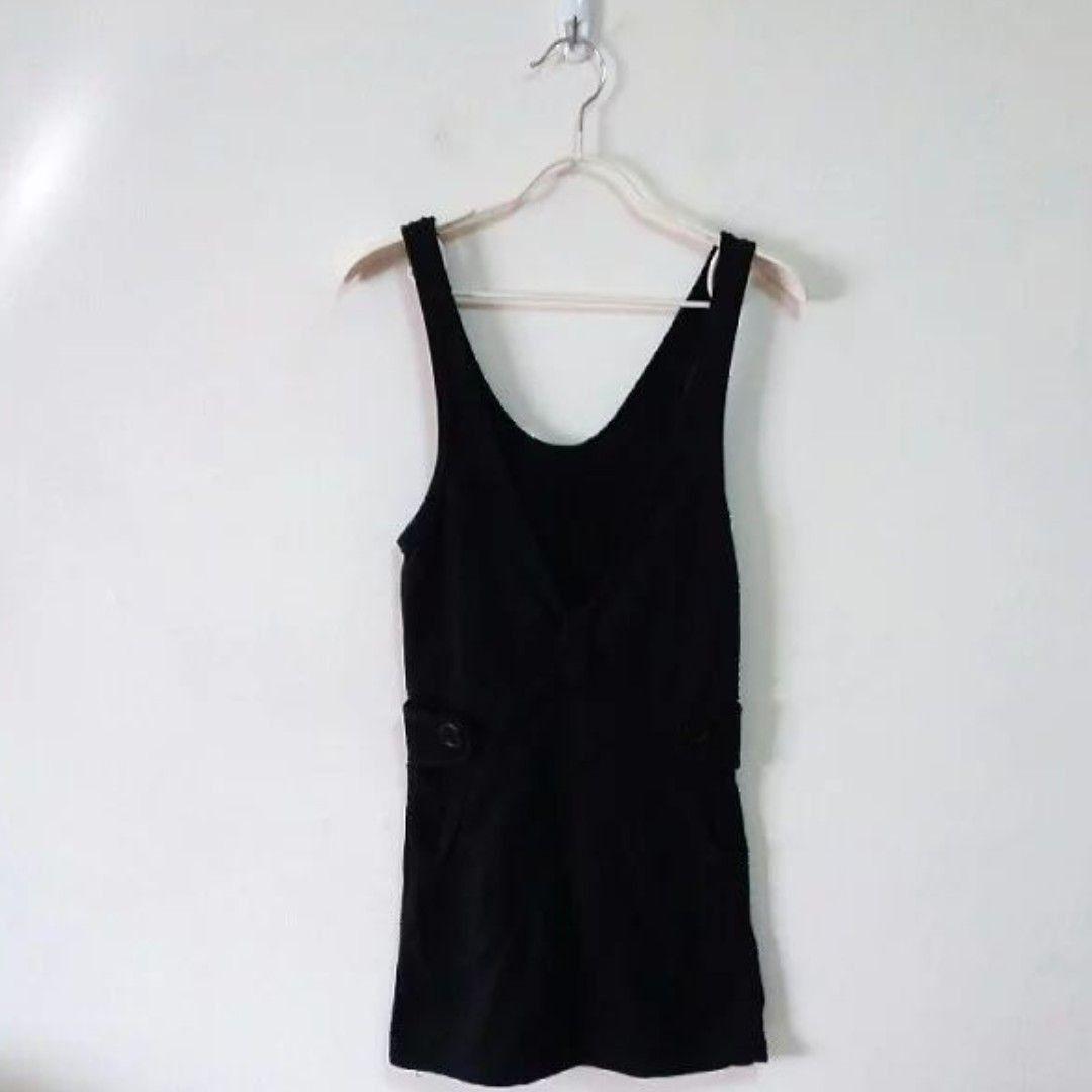 V領抓褶側釦背心裙