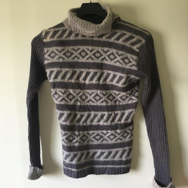 Vintage 古著 灰色高領圖騰織紋毛衣
