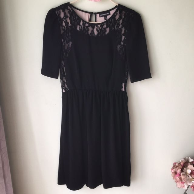 Warehouse little black lace dress