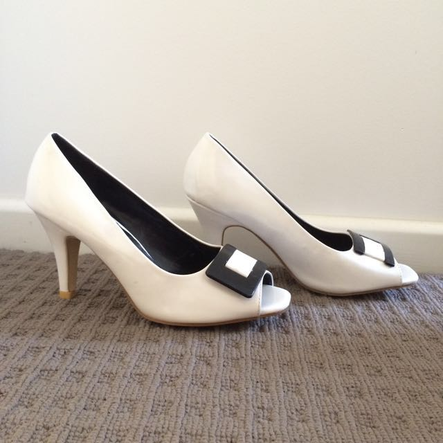 White Heels With Buckle