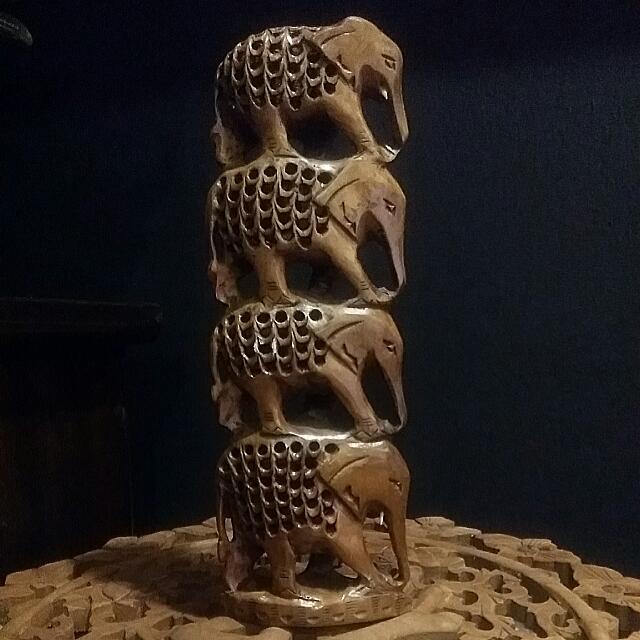 Vintage Wood Carved 8 Elephants In 1 Wood Art
