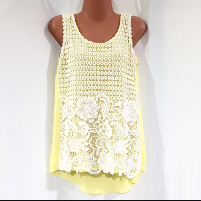 Yellow Korean Laced Top