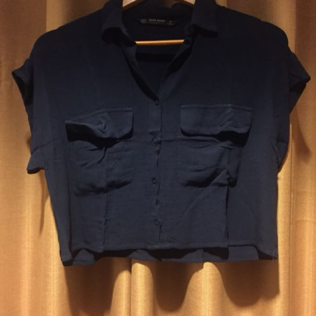 ZARA Crop top navy blue with little deffect