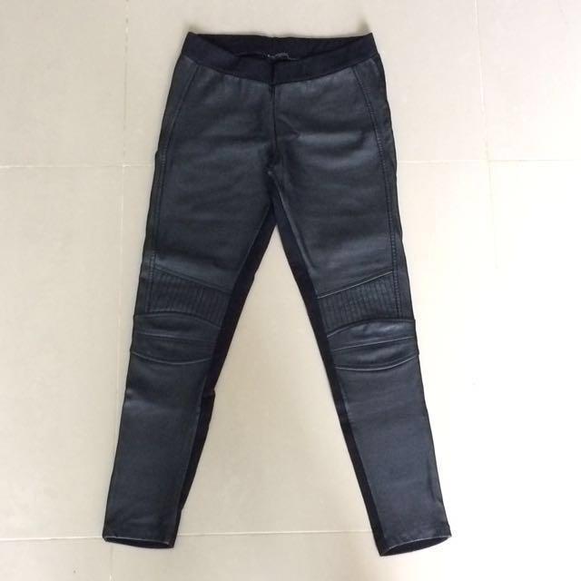 Zara Pleather Black Moto Leggings