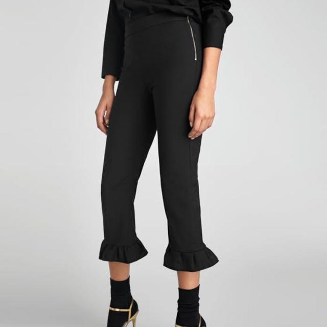 Zara Ruffle black pants