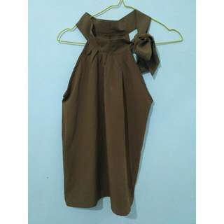 Blouse Turtle Neck Brown