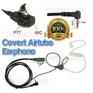 Covert Acoustic Tube Earpiece W/ 2.5mm Jack Motorola Radio Walkie Talkie w PTT