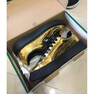 95%new Puma Basket Platform Metallic Gold 厚底鞋