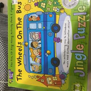 The wheels on the bus jungle puzzle + song cd