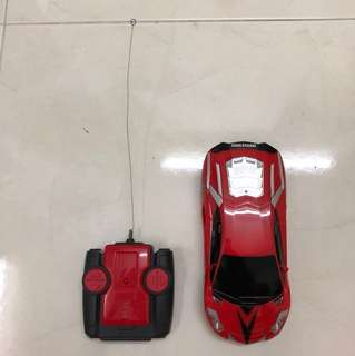 Remote control red sport car; use batteries