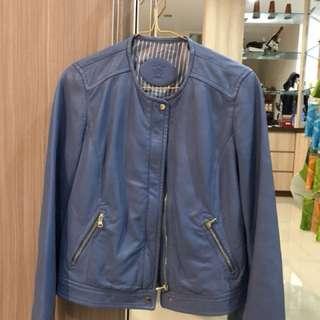 jaket kulit biru(made in india)