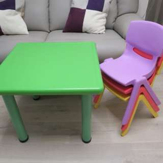 Kids Activities Table + 3 Stackable Chairs