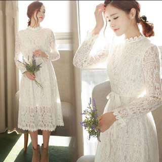 Dress New Spring Full Lace Closed Waist Render Even Clos
