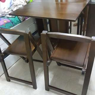 4 chair foldable dining table