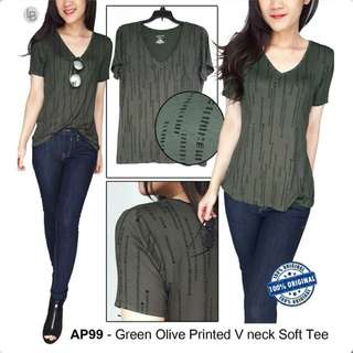 APT9 Green Olive Printed V neck Soft Tee