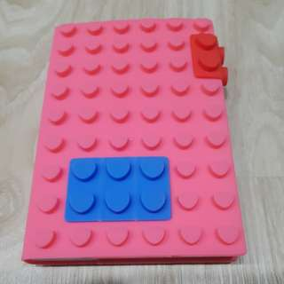 A6 Lego Block Notebook with Silicone Cover (heart shape)