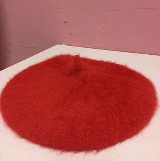 仿兔毛貝蕾帽(畫家帽)