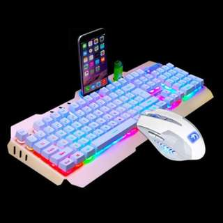 PROMO!! Free Mousepad + Mechanical Touched Gaming Keyboard(white) + Mouse