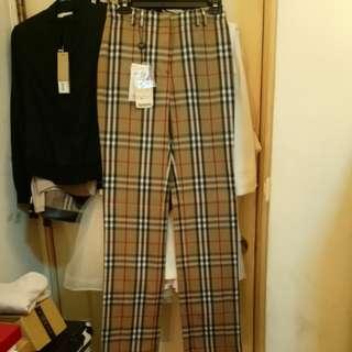 全新Burberry正品羊毛格紋褲