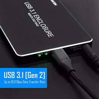 Kingwin USB 3.1 Type C (Gen II) to Dual mSATA SSD External Enclosure with RAID. Up to [10 Gbps]