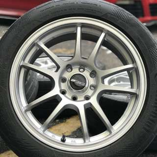 Work emotion cr-2 16 inch sports rim vios tyre 70%