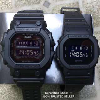 COUPLE💝SET GKING : 1-YEAR OFFICIAL VALID WARRANTY: Originally Authentic G-SHOCK Resistant In Deep BLACK in  STEALTH MATT STRAP-BAND is In WATER RESISTANT with Super Illuminator Light Best For Most Rough Users & Unisex GX-56BB-1DR vs DW-5600BB-1DR