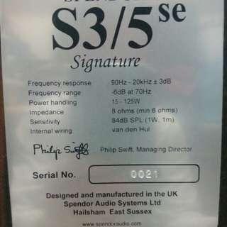 Spendor 3/5se 黑檀簽名版