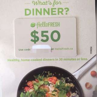 Hello FRESH $50 value gift card