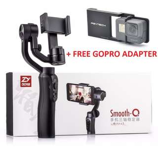 Zhiyun Smooth Q plus Free PGYTECH GoPro Adapter (USED ONLY ONCE FOR TESTING, TWO MONTHS OLD)