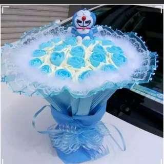Brand New 21 Blue Soap Roses Bouquet + 1 Lovely Blue Doraemon