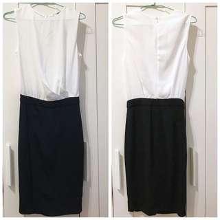 MANGO 黑白簡約無袖連身洋裝