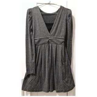 假兩件長袖棉絨洋裝 連衣裙 連身裙