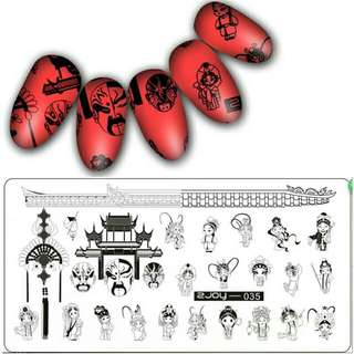 Traditional Chinese New Year Festival nail art stamping plate Fish Lantern Face opera