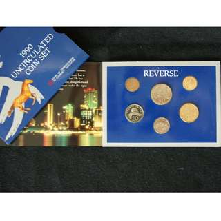 1990 Singapore Year of The Horse Uncirculated Coin Set with Original Sleeve (MINT)