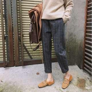 內刷毛格子休閒褲 哈倫褲 小腳褲 格紋西裝褲