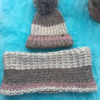 Roots pompom beanie with matching roots infinity scarf.