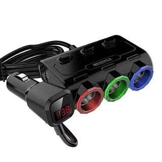 (代購包郵)一開三電壓顯示點煙器連雙出USB