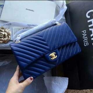 Chanel 2.55 山形紋💖電光藍😍原單~頂级👍