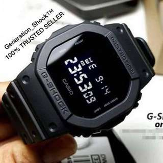 BEST🌟SELLING GSHOCK : 1-YEAR OFFICIAL VALID WARRANTY: New ARRIVAL Originally Authentic G-SHOCK Resistant In Deep BLACK Stealth Matt SUPER ILLUMINATOR LIGHTS Best For Most Rough Hardcore Users & Unisex DW-5600BB-1DR