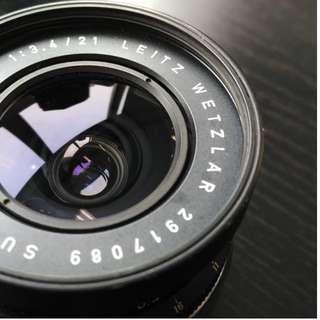 Leica 21mm Super Angulon F/3.4 M-mount. Late copy