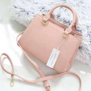 Charles & Keith Tote Bag Pink Color