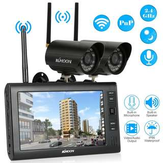 "005 (BRAND NEW) KKmoon Wireless CCTV Camera Kit Home Security DVR System Wireless 2.4GHz 7"" TFT Digital LCD Display Monitor 2 Channel Quad DVR + 2 IR Night Vision Waterproof Camera"
