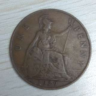 UK King George V 1929 Penny
