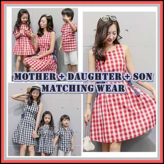 Mother, Daughter and Son Clothes Set / Family Wear Matching Dress Shirt / CNY Outfits