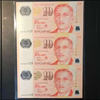 Uncut 3 in 1! Singapore 🇸🇬 ✂️Uncut $10 Portrait Polymer, GCT Sign 3 Pcs Uncut Identical Number 501729 UNC, Limited Edition 500 Set issue by MAS Only! Uncirculated  Condition, Letting Go To Sincere Collector. $150