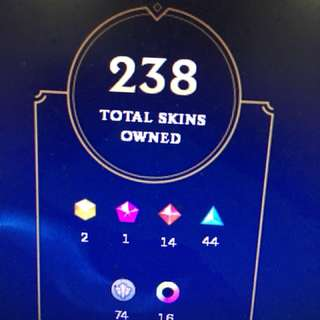 League of legends acc with 238 skins